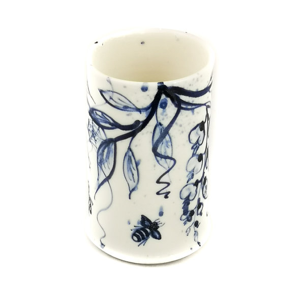Wisteria and Bees  porcelain  hand painted  posy pot 054