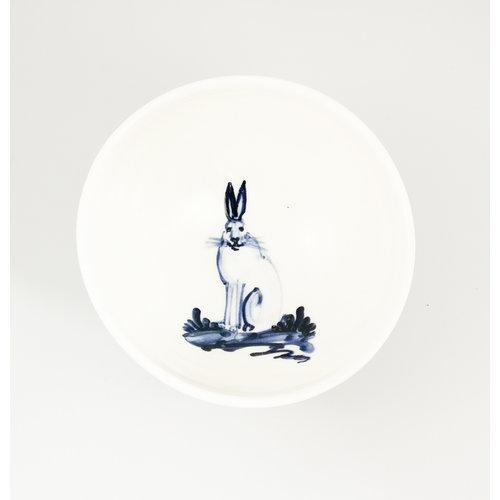 Mia Sarosi Hare sitting porcelain  hand painted  tiny bowl 061