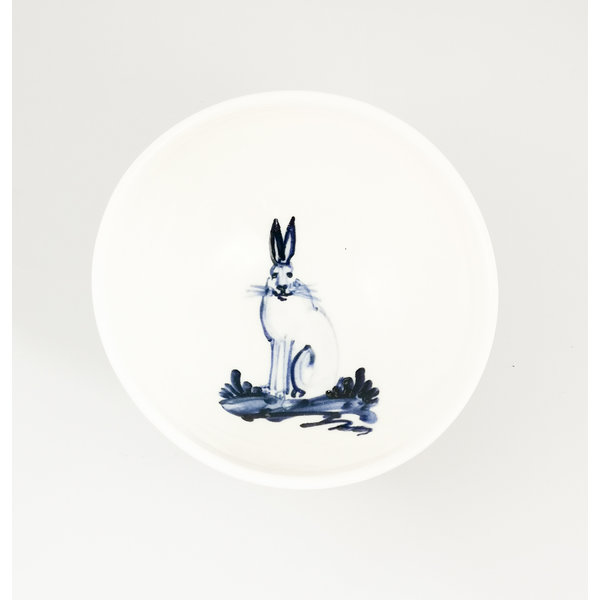 Hare sitting porcelain  hand painted  tiny bowl 061