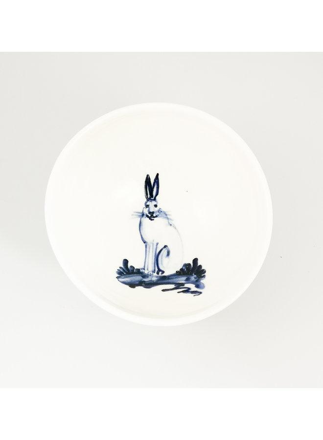 Hase sitzen Porzellan handbemalte winzige Schüssel 061