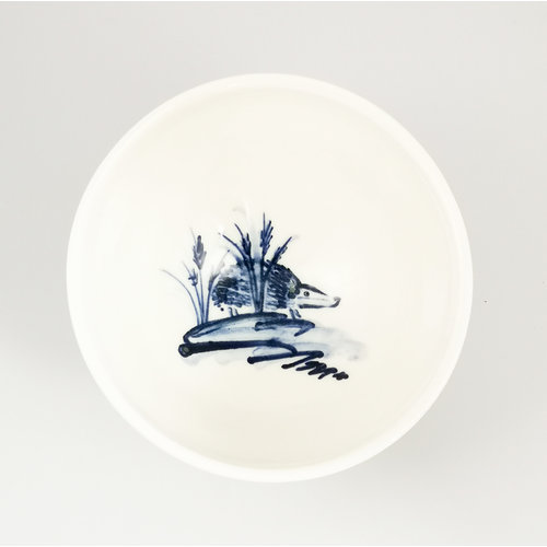 Mia Sarosi Hedgehog  porcelain  hand painted  tiny bowl 056