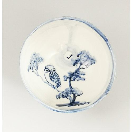Mia Sarosi Owl  porcelain  hand painted  tiny bowl 057