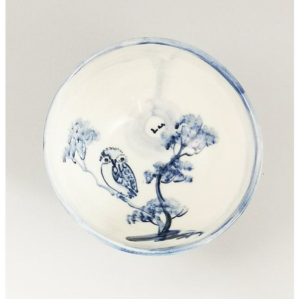 Owl  porcelain  hand painted  tiny bowl 057
