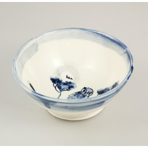 Bol pequeño de porcelana pintada a mano de búho 057