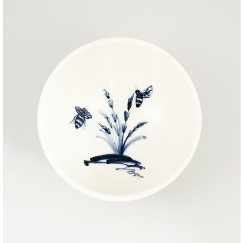 Mia Sarosi Bees in Lavender  porcelain  hand painted  tiny bowl 058
