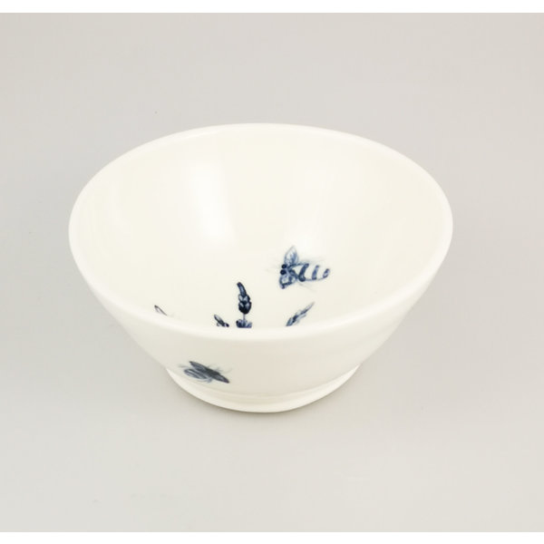 Bees in Lavender  porcelain  hand painted  tiny bowl 058