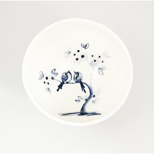 Mia Sarosi Birds on Cherry  porcelain  hand painted  tiny bowl 059