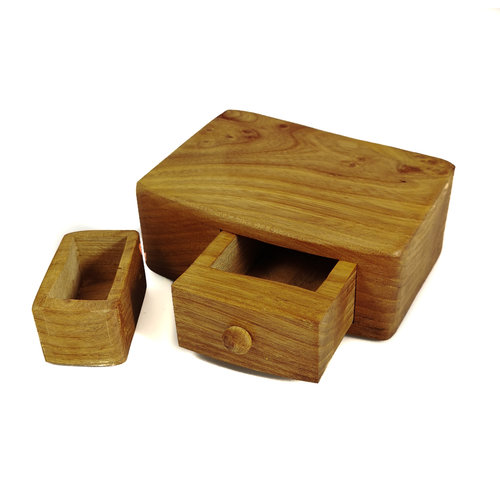 Hollytree Woodcrafts Yew Tree Wood Box single drawer with secret drawer 02