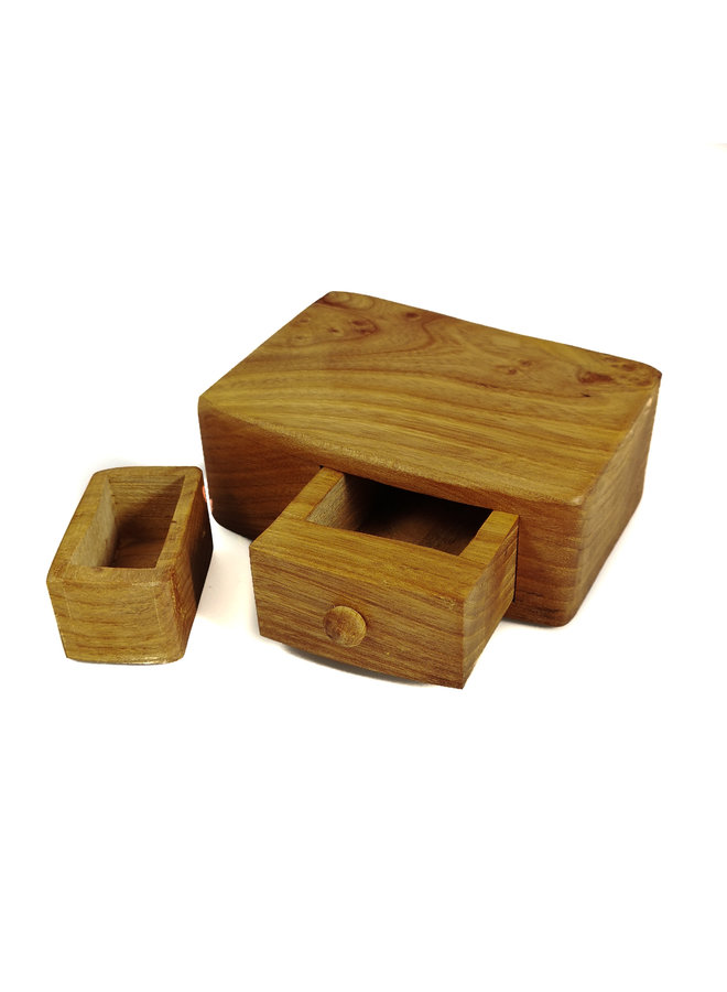 Elm Tree Wood Box Einzelschublade mit geheimer Schublade 03