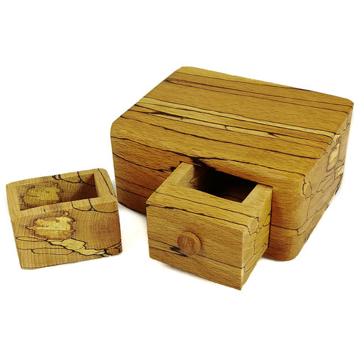 Hollytree Woodcrafts Spalted Beech Wood Box single drawer with secret drawer 04