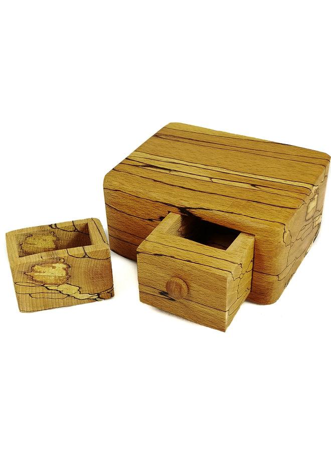 Einzelschublade aus Spalted Beech Wood Box mit geheimer Schublade 04