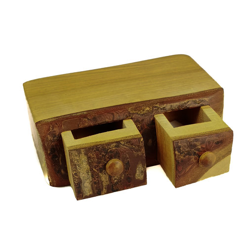 Hollytree Woodcrafts Cherry Rustic Wood Box two drawer 05