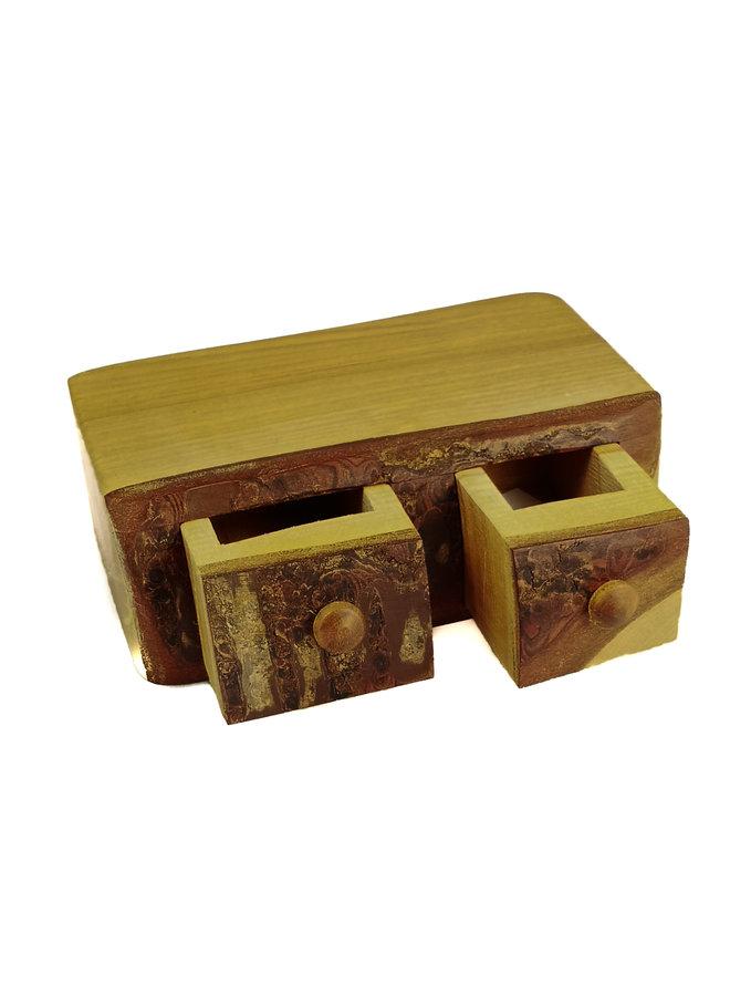 Cherry Rustic Wood Box zwei Schubladen 05