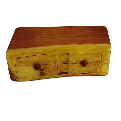 Hollytree Woodcrafts Yew Tree Wood Box two drawer 06