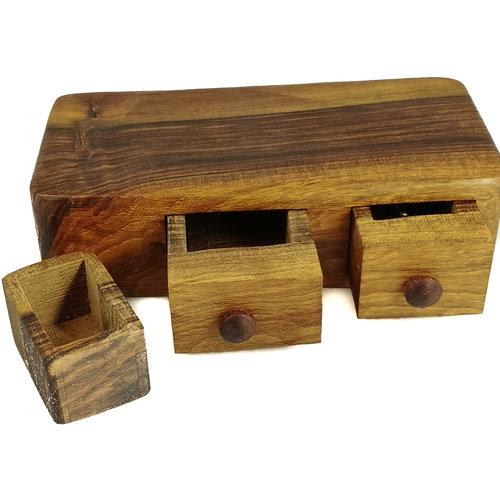 Hollytree Woodcrafts Walnussholzkiste zwei Schubladen und Sektretschublade 07