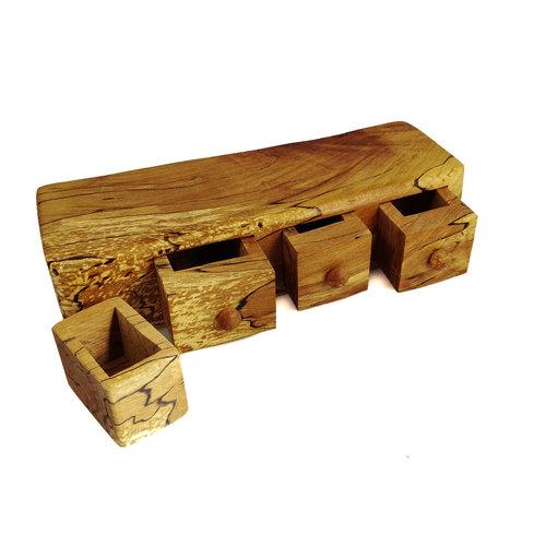 Hollytree Woodcrafts Caja de haya spalted tres cajones y cajón secreto 10