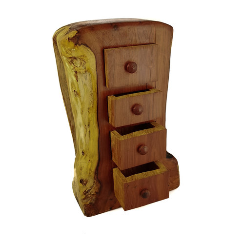 Hollytree Woodcrafts Yew Tree Tower Box four drawer 12