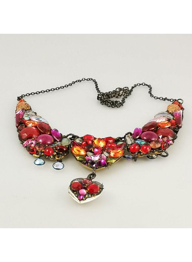 Vintage große rote Halskette 174