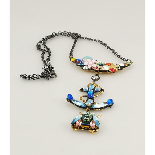Annie Sherburne Vintage mixed stones with anchor and bee necklace 175