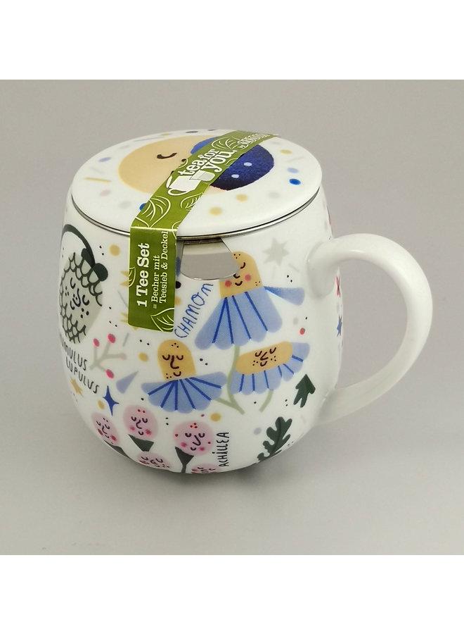 Tee für Sie setzen Becher, Sieb und Deckel