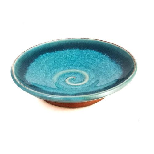 R B Ceramics Mini Tapas dish Teal  swirl 043