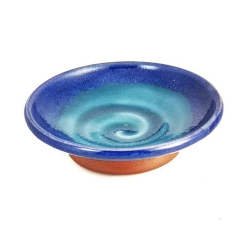 R B Ceramics Mini Tapas dish blue swirl 042