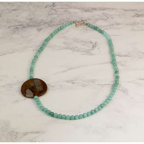 Melissa James Malay jade with landscape stone necklace 107