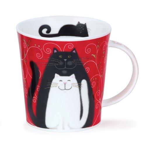 Dunoon Ceramics Taza negra, gris y blanca de los gatos de Kate Mawdeley 81