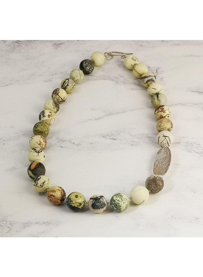 Grüne Jaspis und silberne Raute Halskette 011