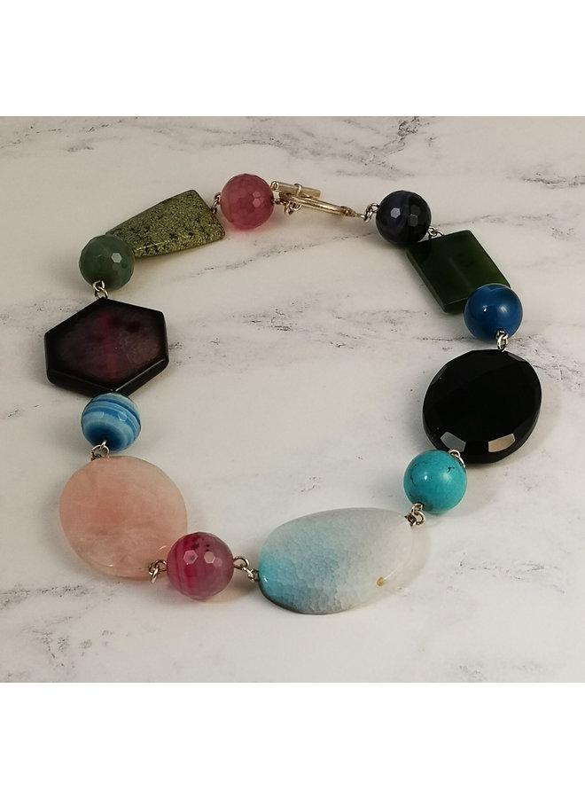Flat multi stone and aqua  necklace