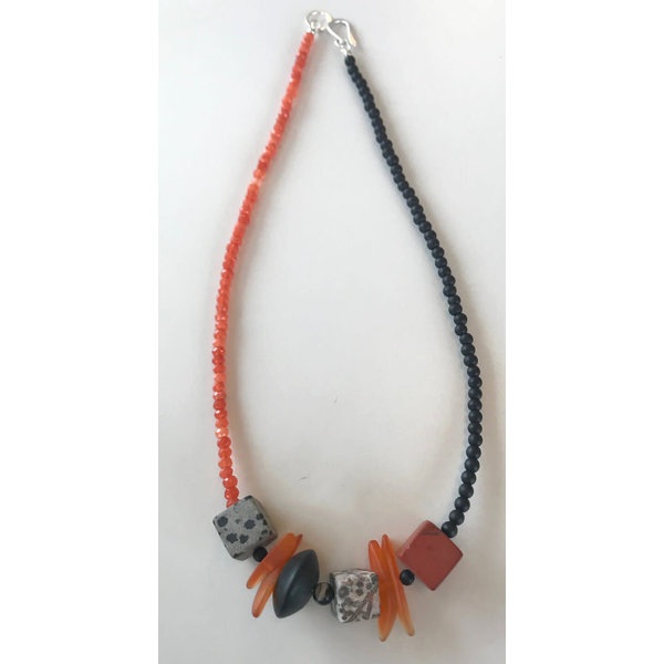 Orange and black with cube stone necklace 108