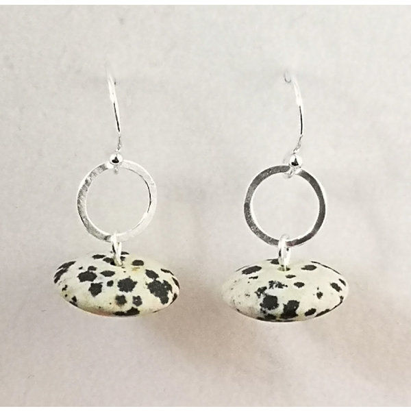 Dalmation Jasper and silver drop earrings 108