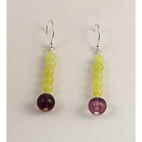 Melissa James Jade with Florite and silver drop earrings 110