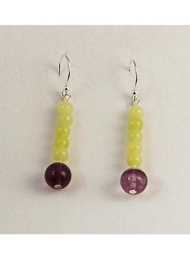 Jade mit Ohrringen aus Florit und Silber 110