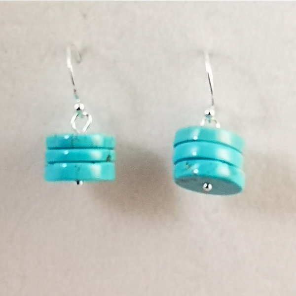 Turquoise discs and silver drop earrings 111