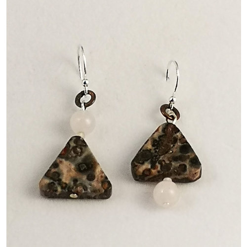 Melissa James Silver Leaf shard and silver drop earrings 112