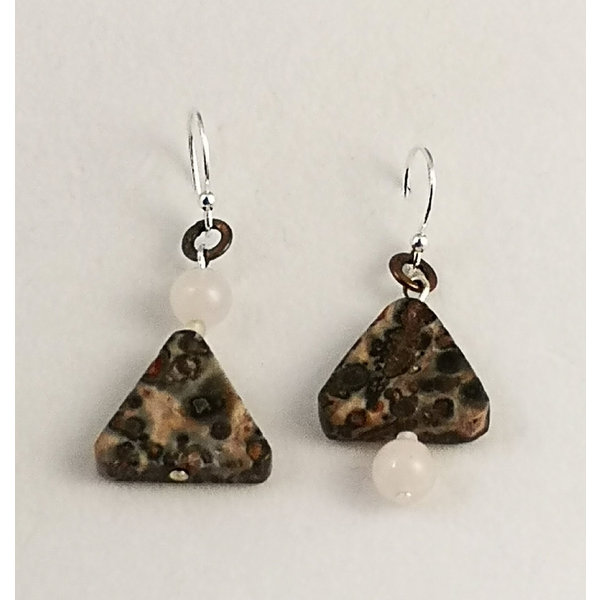 Silver Leaf shard and silver drop earrings 112