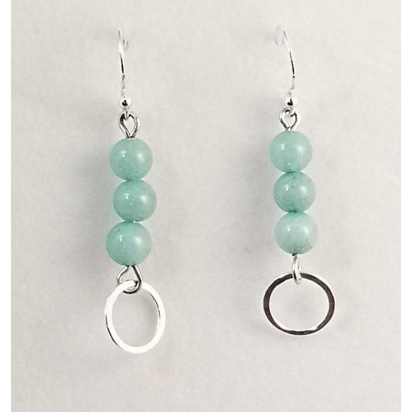 Aquamarine and silver drop earrings 113
