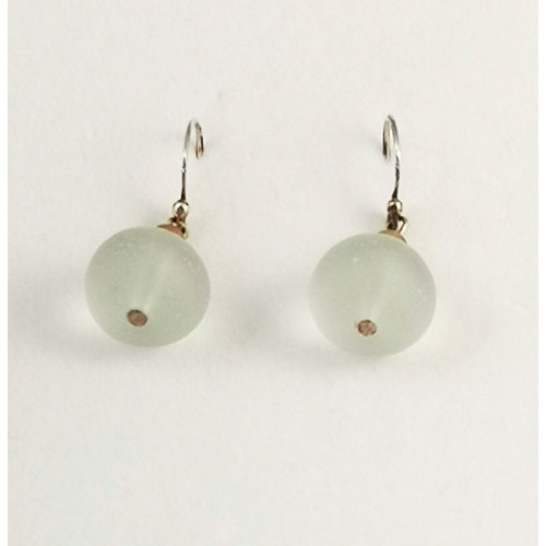 Melissa James Sea glass and silver drop earrings 114