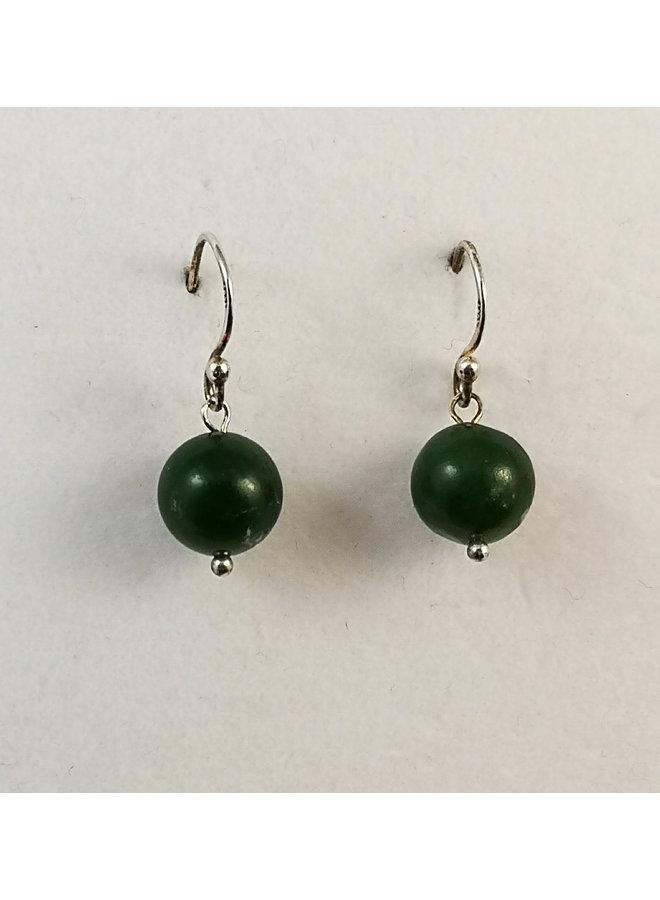 Jade and silver hook Earrings