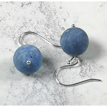 Melissa James Lapis  and silver hook Earrings 067