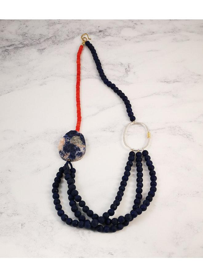 Lapis 3 strand with soladite bead necklace 103