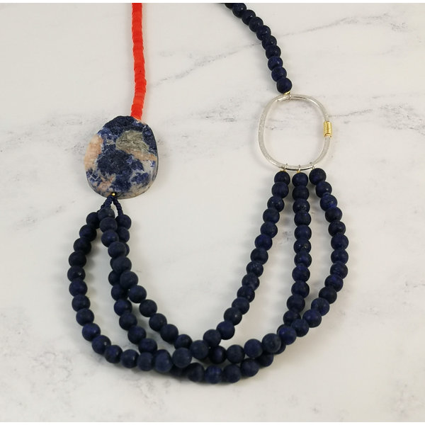 Lapis 3 strand with soladite bead necklace 103