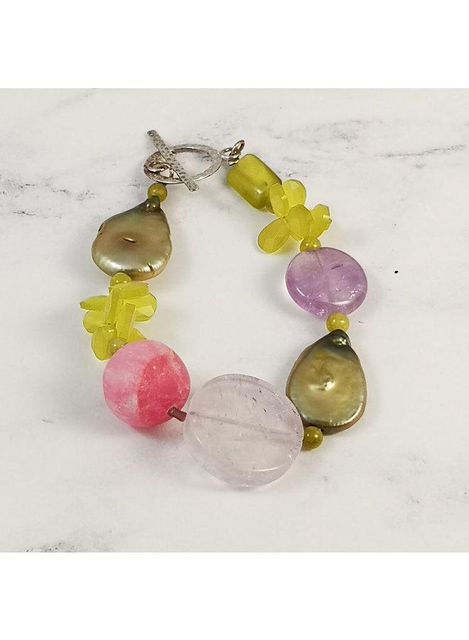 Olive, Pink, pearl bracelet