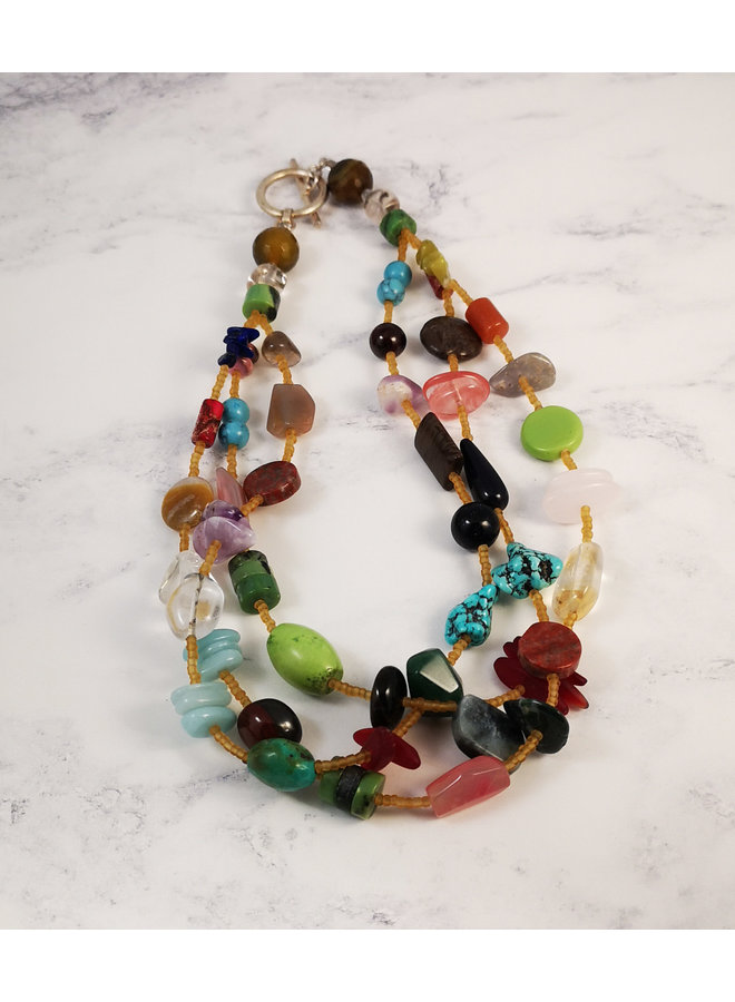 2 Strand multi stone necklace