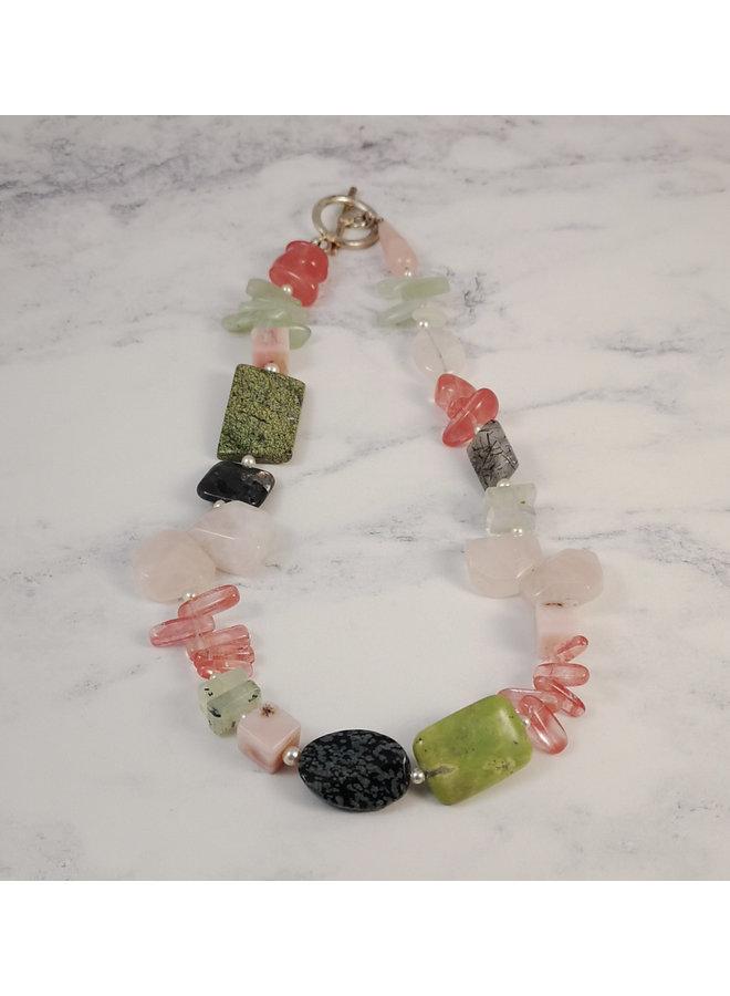 Jade, Olive, quartz necklace