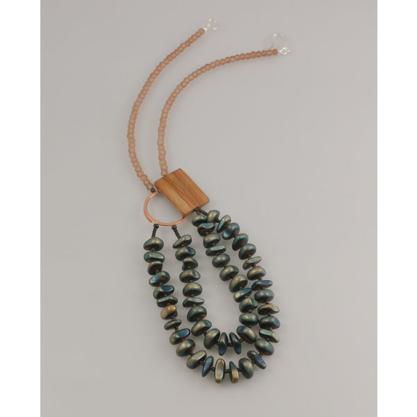 Hematita y piedra de madera fósil, cristal marino con anillo de cobre Collar 79