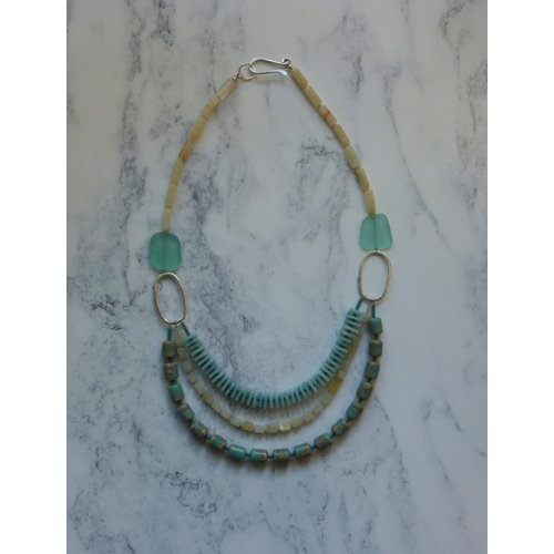Melissa James 3 Strand Aqua, Yellow Agate, Amozonite Necklace 047