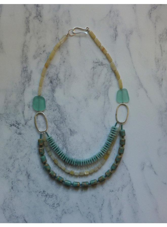 3-Strang-Aqua, gelber Achat, Amozonit-Halskette 047