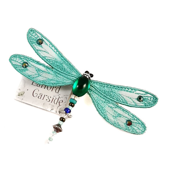 Dragonfly jewelled brooch turquoise 079